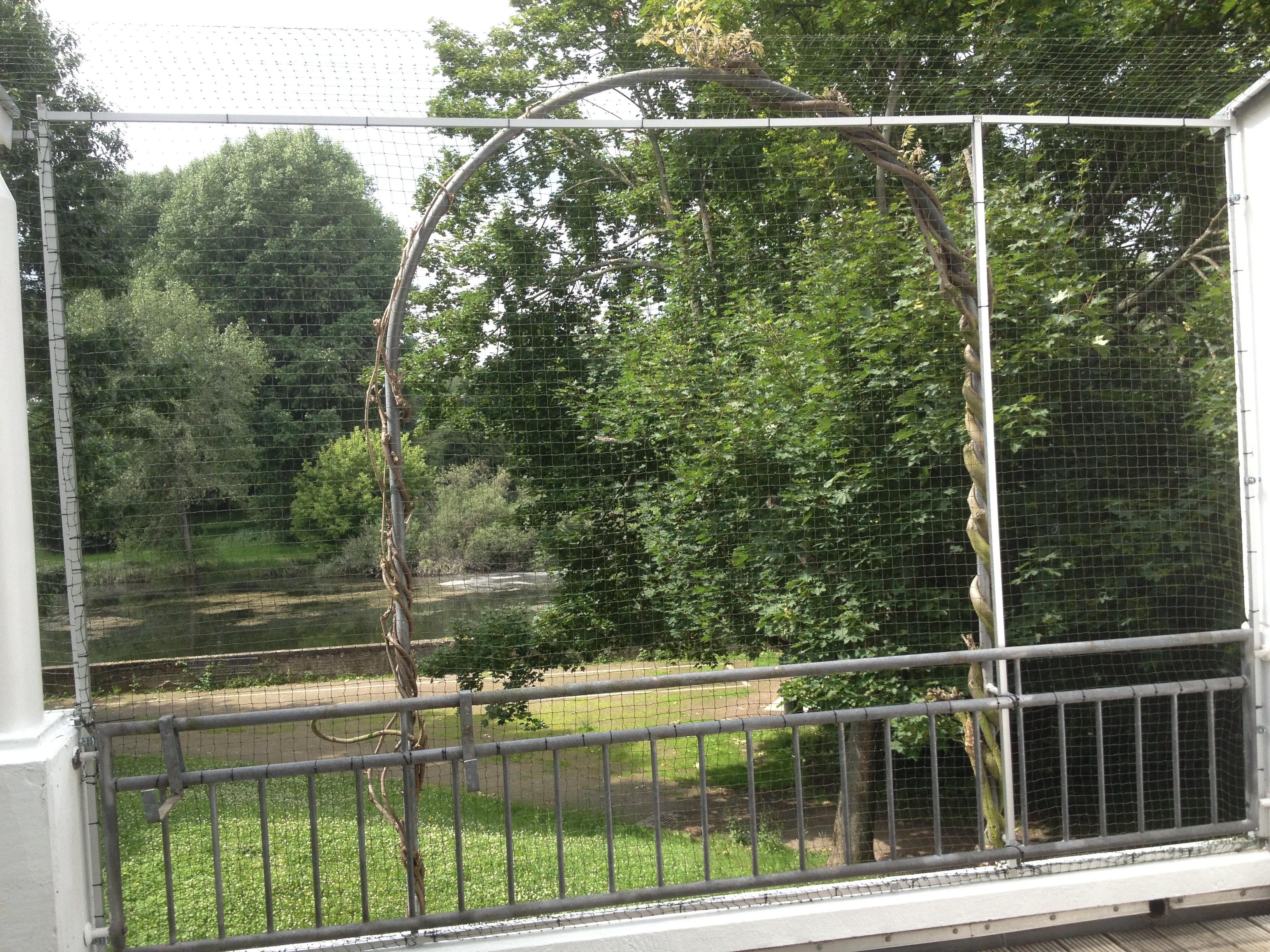 Terrasse im Ruhrgebiet katzensicher gemacht, vom Fachmann für Katzennetz anbringen