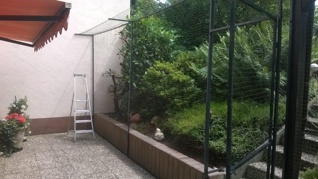 Gartenterrasse in Hanau bei Frankfurt katzensicher vernetzt