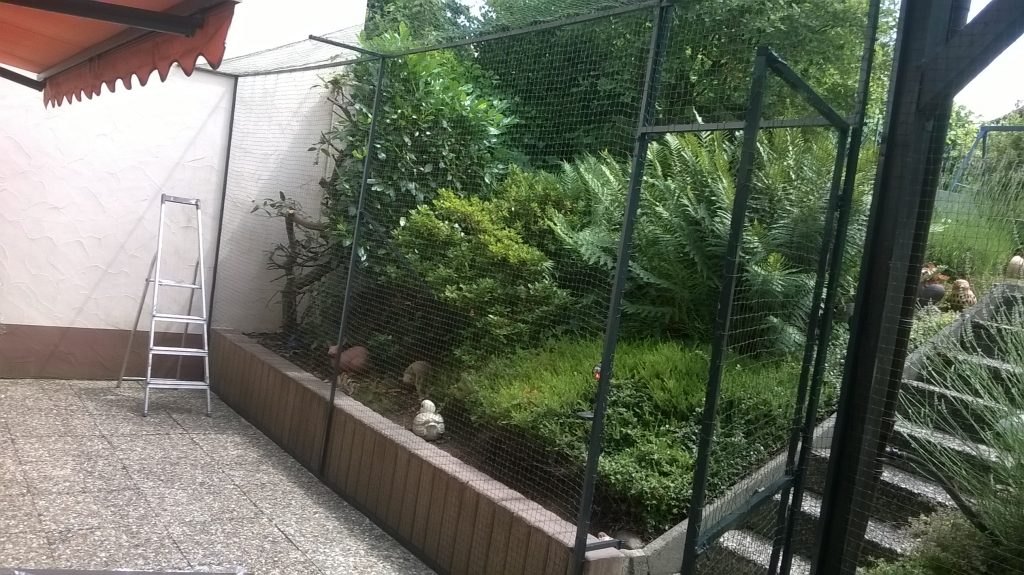 Gartenterrasse mit Katzennetz und Überkletterschutz